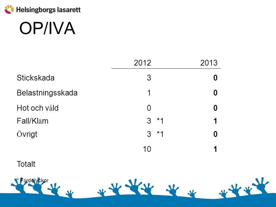 OP/IVA 2012 2013 Stickskada30 Belastningsskada10 Hot och v å ld00 Fall/Kl ä m3*11 Ö vrigt3*10 101 Totalt * F ä rdolyckor