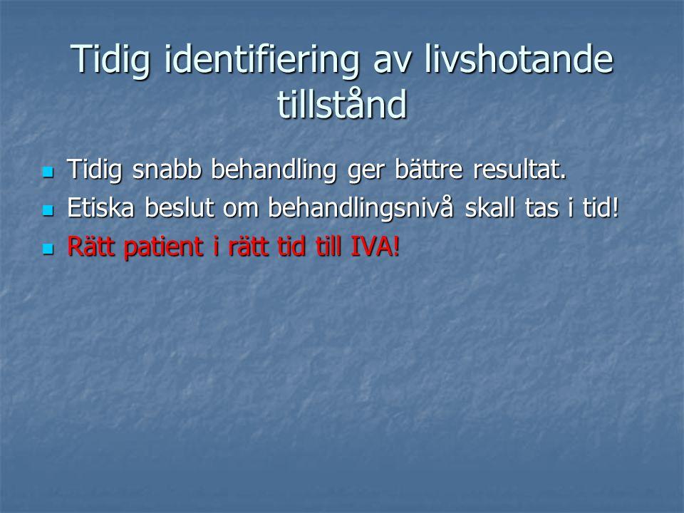 Reagera.På alla orange och röda värden, även om patienten inte uppnått 5 MEWS poäng.