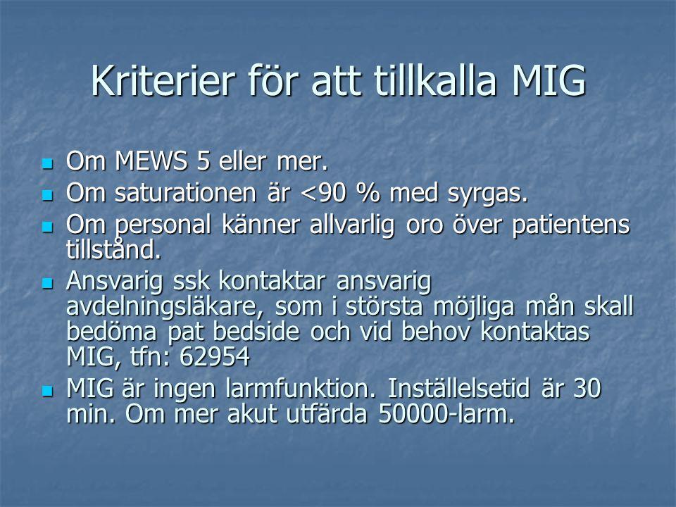 Kriterier för att tillkalla MIG Om MEWS 5 eller mer. Om MEWS 5 eller mer. Om saturationen är <90 % med syrgas. Om saturationen är <90 % med syrgas. Om