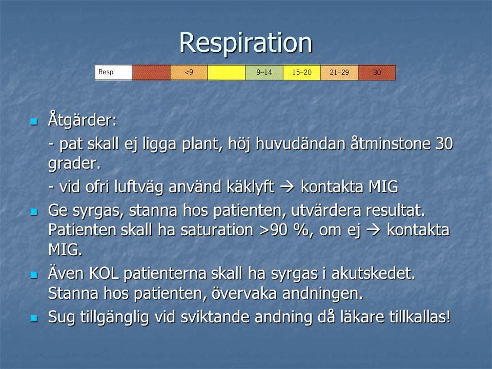 Respiration Åtgärder: Åtgärder: - pat skall ej ligga plant, höj huvudändan åtminstone 30 grader. - vid ofri luftväg använd käklyft  kontakta MIG Ge s