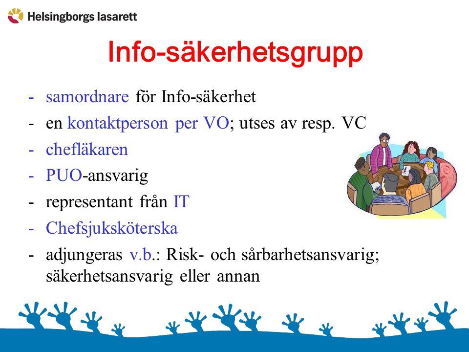 Info-säkerhetsgrupp -samordnare för Info-säkerhet -en kontaktperson per VO; utses av resp. VC -chefläkaren -PUO-ansvarig -representant från IT -Chefsj