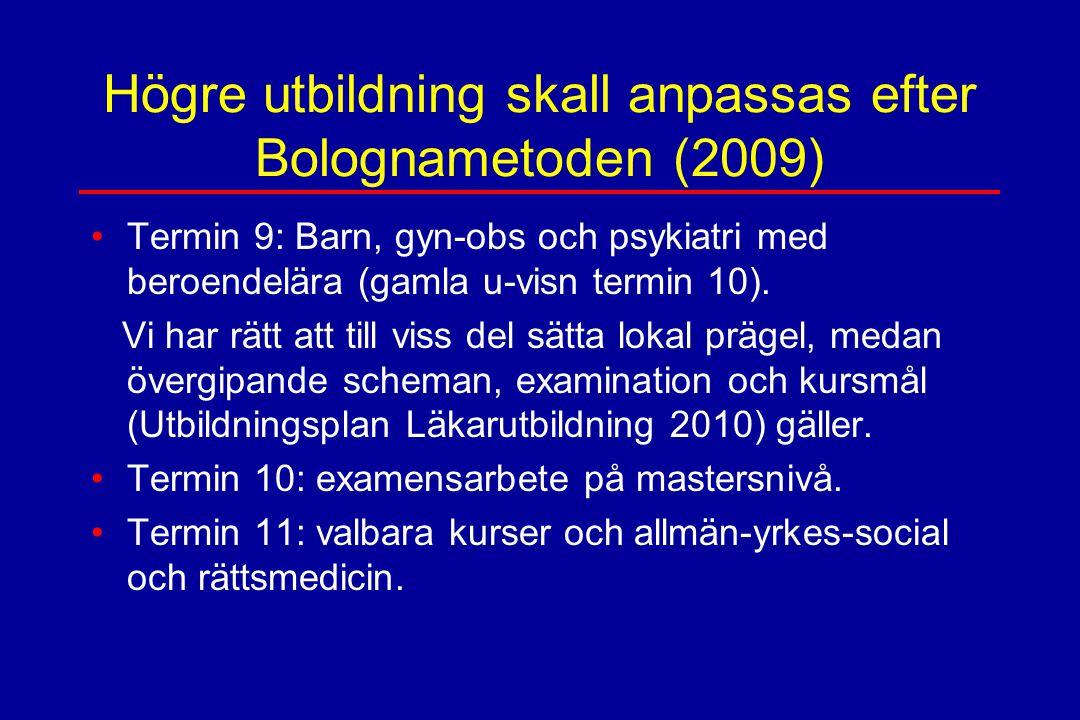 Högre utbildning skall anpassas efter Bolognametoden (2009) Termin 9: Barn, gyn-obs och psykiatri med beroendelära (gamla u-visn termin 10). Vi har rä