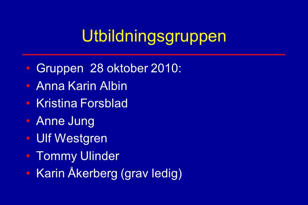 Utbildningsgruppen Gruppen 28 oktober 2010: Anna Karin Albin Kristina Forsblad Anne Jung Ulf Westgren Tommy Ulinder Karin Åkerberg (grav ledig)