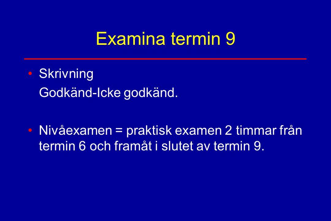 Examina termin 9 Skrivning Godkänd-Icke godkänd. Nivåexamen = praktisk examen 2 timmar från termin 6 och framåt i slutet av termin 9.