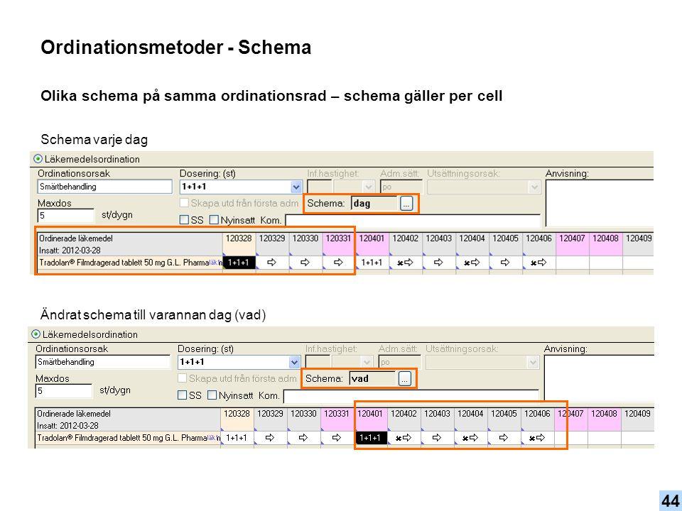 Olika schema på samma ordinationsrad – schema gäller per cell Ordinationsmetoder - Schema Ändrat schema till varannan dag (vad) Schema varje dag 44