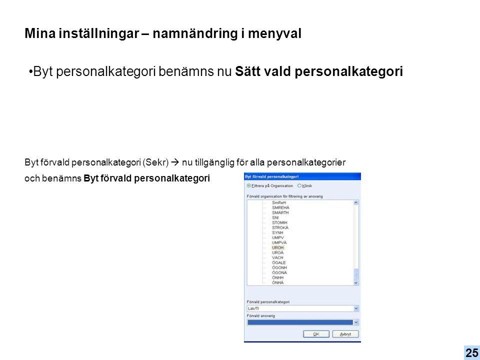 Byt personalkategori benämns nu Sätt vald personalkategori Mina inställningar – namnändring i menyval Byt förvald personalkategori (Sekr)  nu tillgän