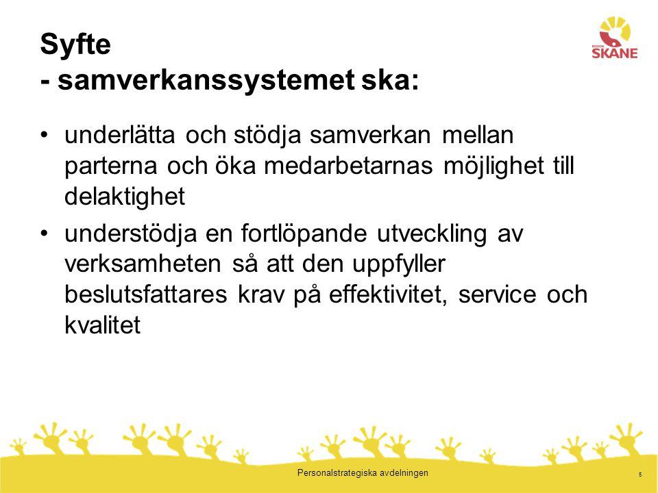 5 Personalstrategiska avdelningen Syfte - samverkanssystemet ska: underlätta och stödja samverkan mellan parterna och öka medarbetarnas möjlighet till