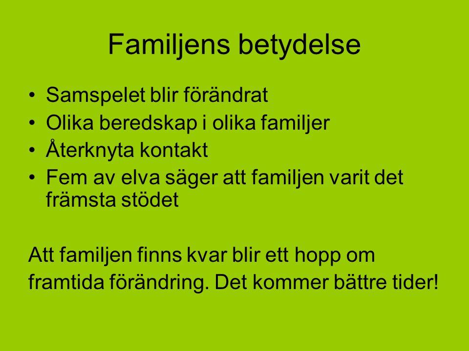 Familjens betydelse Samspelet blir förändrat Olika beredskap i olika familjer Återknyta kontakt Fem av elva säger att familjen varit det främsta stöde