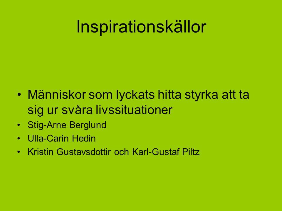 Inspirationskällor Människor som lyckats hitta styrka att ta sig ur svåra livssituationer Stig-Arne Berglund Ulla-Carin Hedin Kristin Gustavsdottir och Karl-Gustaf Piltz