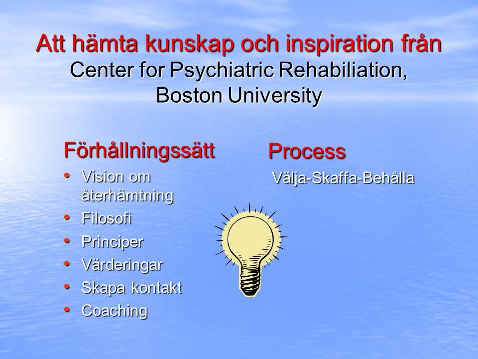 Syfte med rehabilitering Psykiatrisk rehabilitering syftar att stödja människor med omfattande psykiska funktionshinder att fungera bättre så att de kan bli framgångsrika och tillfredsställda i miljöer de själva valt för boende, studier, arbete och/eller socialt umgänge, med minst möjliga professionella insatser.