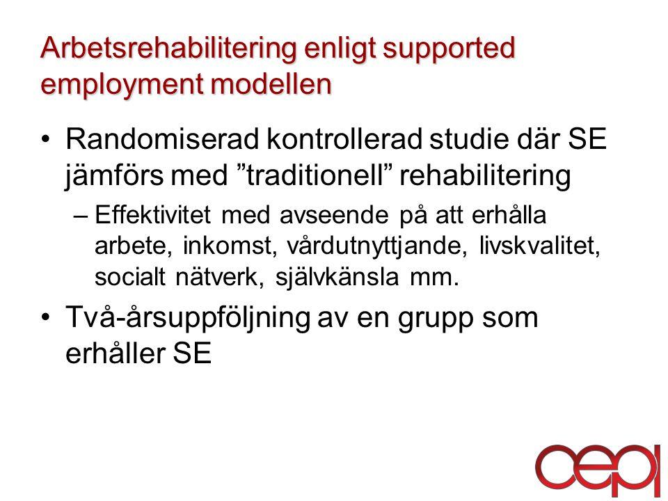 Arbetsrehabilitering enligt supported employment modellen Randomiserad kontrollerad studie där SE jämförs med traditionell rehabilitering –Effektivitet med avseende på att erhålla arbete, inkomst, vårdutnyttjande, livskvalitet, socialt nätverk, självkänsla mm.