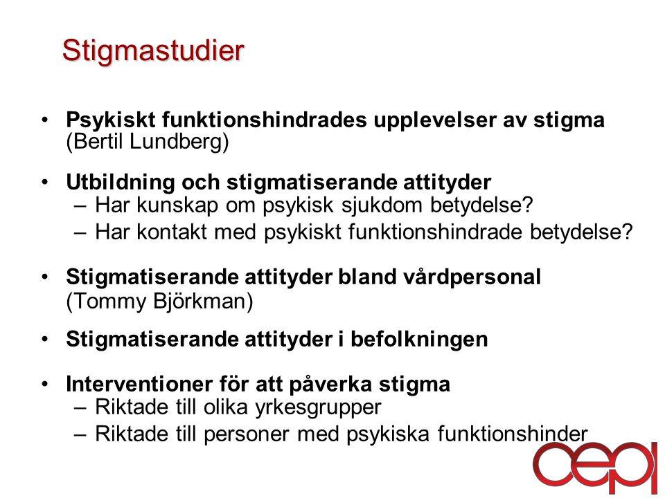 Stigmastudier Psykiskt funktionshindrades upplevelser av stigma (Bertil Lundberg) Utbildning och stigmatiserande attityder –Har kunskap om psykisk sjukdom betydelse.