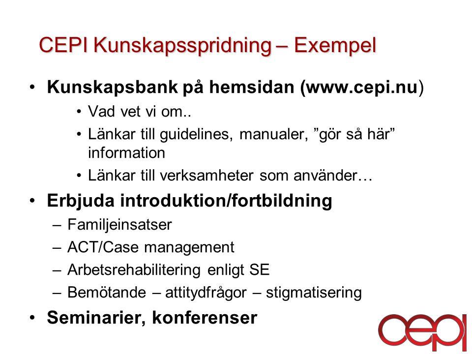 CEPI Kunskapsspridning – Exempel CEPI Kunskapsspridning – Exempel Kunskapsbank på hemsidan (www.cepi.nu) Vad vet vi om..