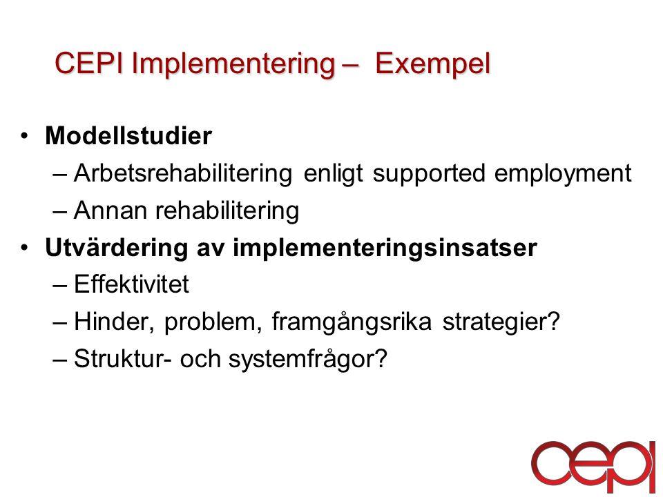 CEPI Implementering – Exempel CEPI Implementering – Exempel Modellstudier –Arbetsrehabilitering enligt supported employment –Annan rehabilitering Utvärdering av implementeringsinsatser –Effektivitet –Hinder, problem, framgångsrika strategier.