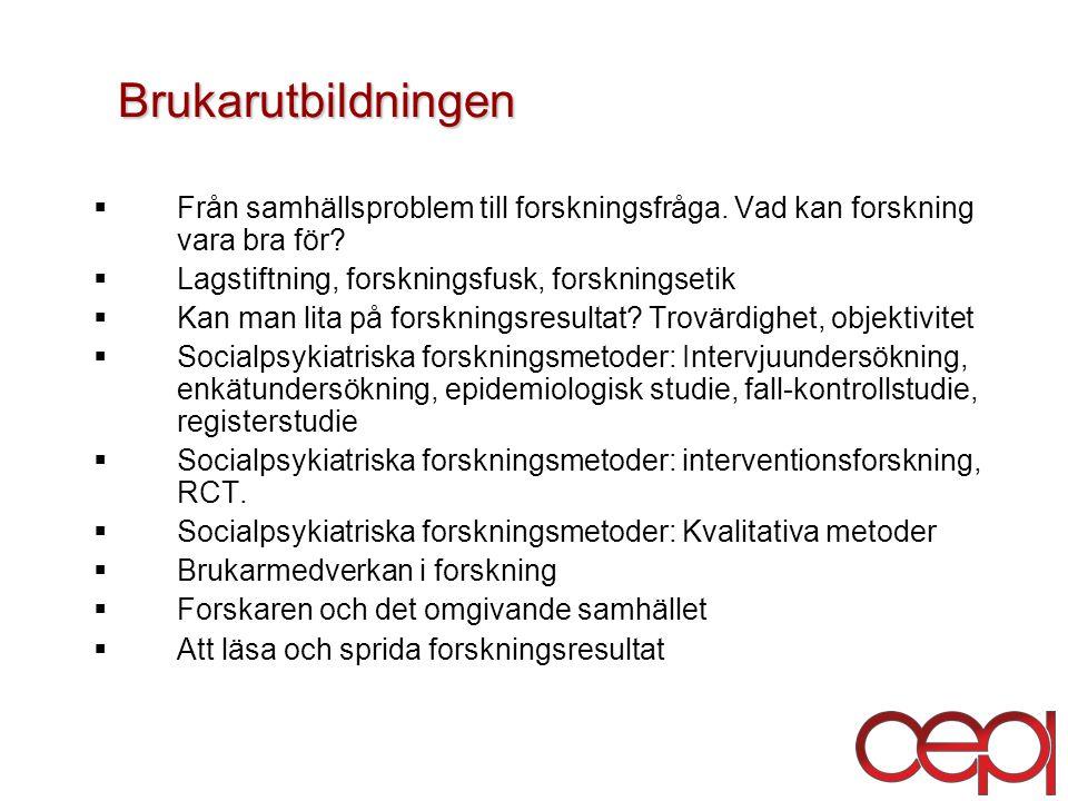 Brukarutbildningen  Från samhällsproblem till forskningsfråga.