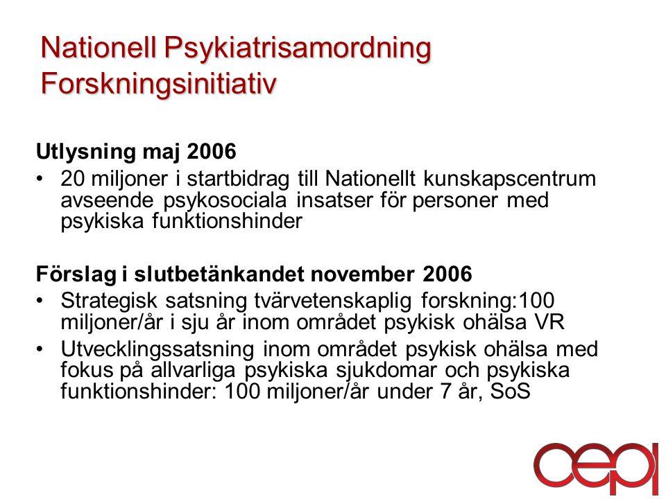 Nationell Psykiatrisamordning Forskningsinitiativ Utlysning maj 2006 20 miljoner i startbidrag till Nationellt kunskapscentrum avseende psykosociala insatser för personer med psykiska funktionshinder Förslag i slutbetänkandet november 2006 Strategisk satsning tvärvetenskaplig forskning:100 miljoner/år i sju år inom området psykisk ohälsa VR Utvecklingssatsning inom området psykisk ohälsa med fokus på allvarliga psykiska sjukdomar och psykiska funktionshinder: 100 miljoner/år under 7 år, SoS