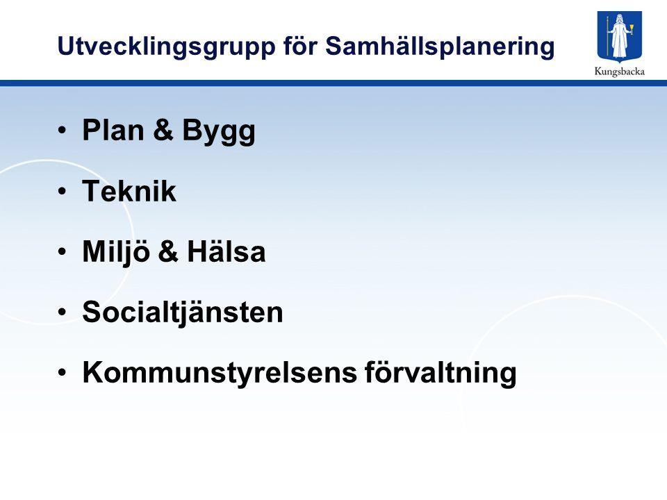 Utvecklingsgrupp för Samhällsplanering Plan & Bygg Teknik Miljö & Hälsa Socialtjänsten Kommunstyrelsens förvaltning
