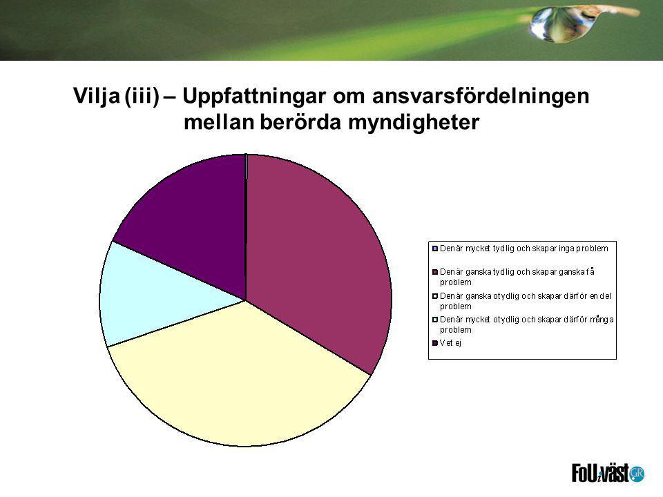Vilja (iii) – Uppfattningar om ansvarsfördelningen mellan berörda myndigheter