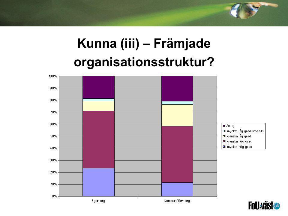 Kunna (iii) – Främjade organisationsstruktur?