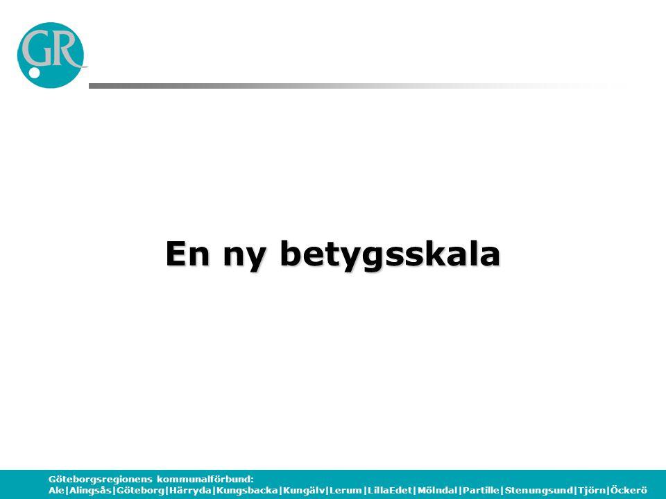 Göteborgsregionens kommunalförbund: Ale|Alingsås|Göteborg|Härryda|Kungsbacka|Kungälv|Lerum|LillaEdet|Mölndal|Partille|Stenungsund|Tjörn|Öckerö Den nya betygsskalan Ny betygsskala inte nytt betygssystem Betygssystemet mål- och kunskapsrelaterat A – E godkänt där A är högsta betyget F är icke godkänt resultat Horisontellt streck Bygger på den gamla skalan Nationella betygskriterier för A, C och E Särskolan bara A - E