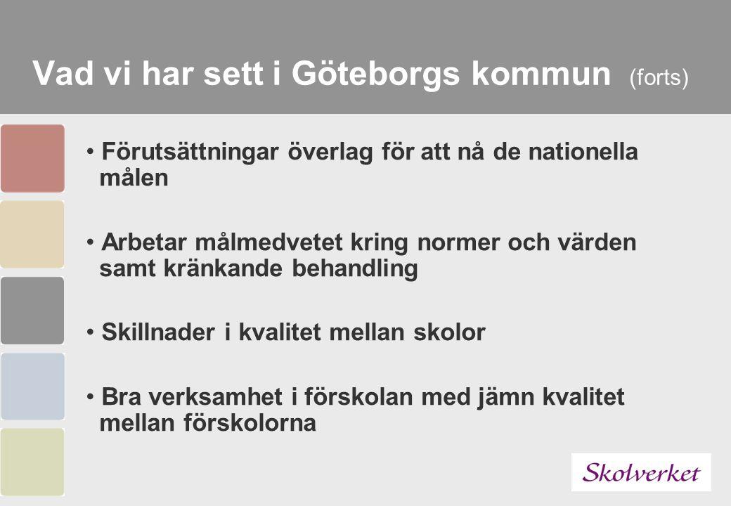 Vad vi har sett i Göteborgs kommun (forts) Förutsättningar överlag för att nå de nationella målen Arbetar målmedvetet kring normer och värden samt krä