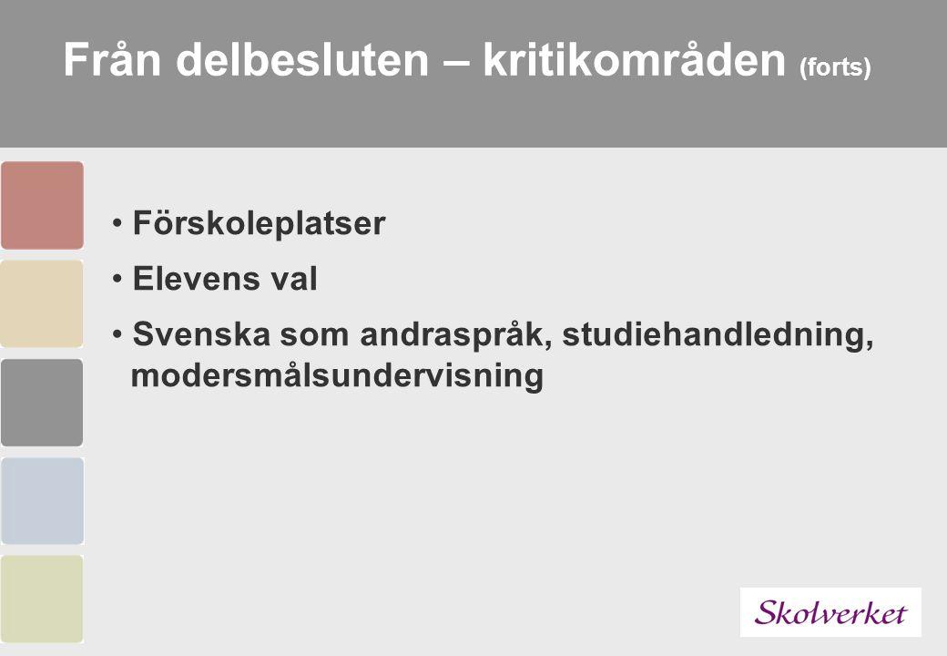 Från delbesluten – kritikområden (forts) Förskoleplatser Elevens val Svenska som andraspråk, studiehandledning, modersmålsundervisning