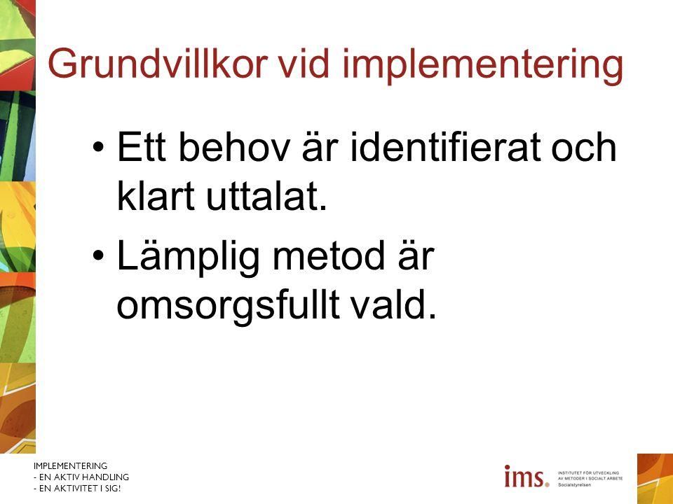 IMPLEMENTERING - EN AKTIV HANDLING - EN AKTIVITET I SIG! Grundvillkor vid implementering Ett behov är identifierat och klart uttalat. Lämplig metod är