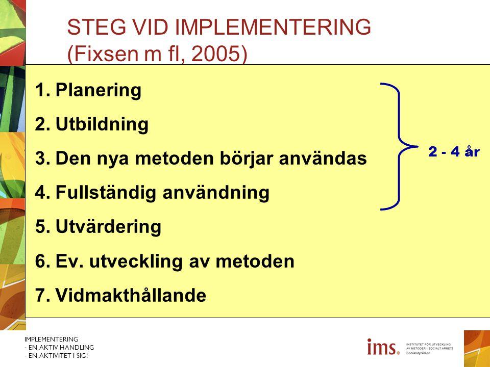 IMPLEMENTERING - EN AKTIV HANDLING - EN AKTIVITET I SIG! STEG VID IMPLEMENTERING (Fixsen m fl, 2005) 1.Planering 2.Utbildning 3.Den nya metoden börjar