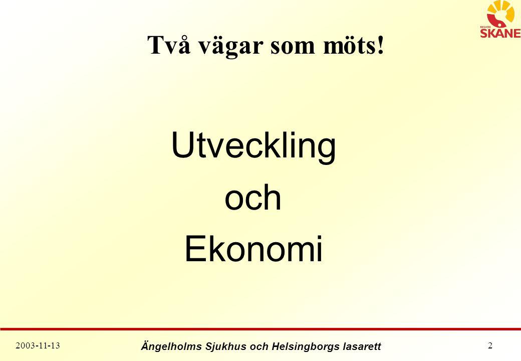 Ängelholms Sjukhus och Helsingborgs lasarett 2003-11-132 Två vägar som möts! Utveckling och Ekonomi