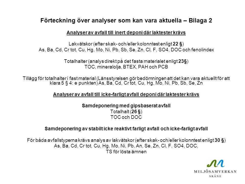 Förteckning över analyser som kan vara aktuella – Bilaga 2 Analyser av avfall till inert deponi där laktester krävs Lakvätskor (efter skak- och/eller