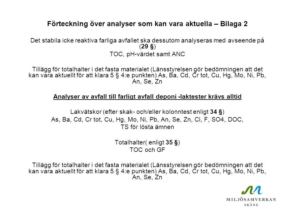 Förteckning över analyser som kan vara aktuella – Bilaga 2 Det stabila icke reaktiva farliga avfallet ska dessutom analyseras med avseende på (29 §) T