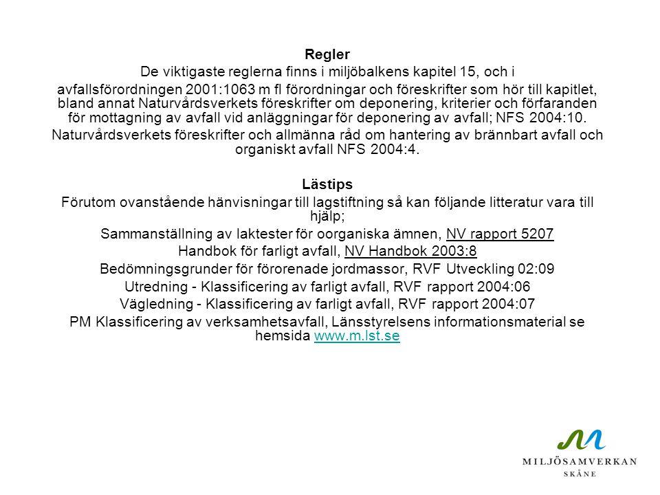 Regler De viktigaste reglerna finns i miljöbalkens kapitel 15, och i avfallsförordningen 2001:1063 m fl förordningar och föreskrifter som hör till kap
