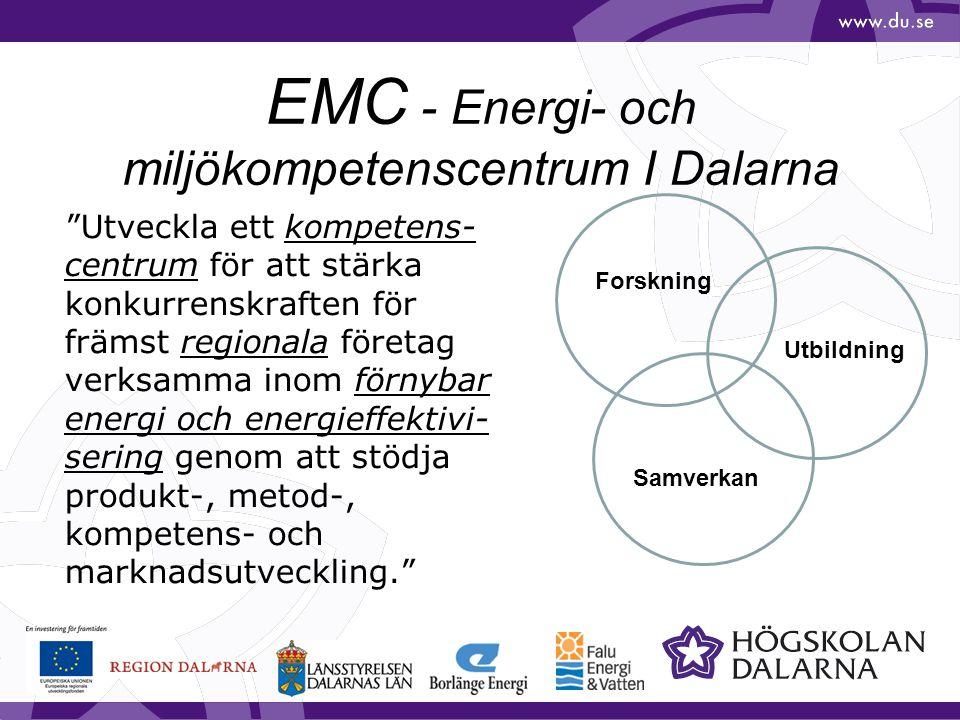"""EMC - Energi- och miljökompetenscentrum I Dalarna """"Utveckla ett kompetens- centrum för att stärka konkurrenskraften för främst regionala företag verks"""