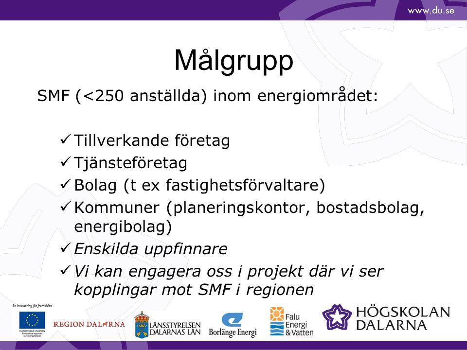 Målgrupp SMF (<250 anställda) inom energiområdet: Tillverkande företag Tjänsteföretag Bolag (t ex fastighetsförvaltare) Kommuner (planeringskontor, bo