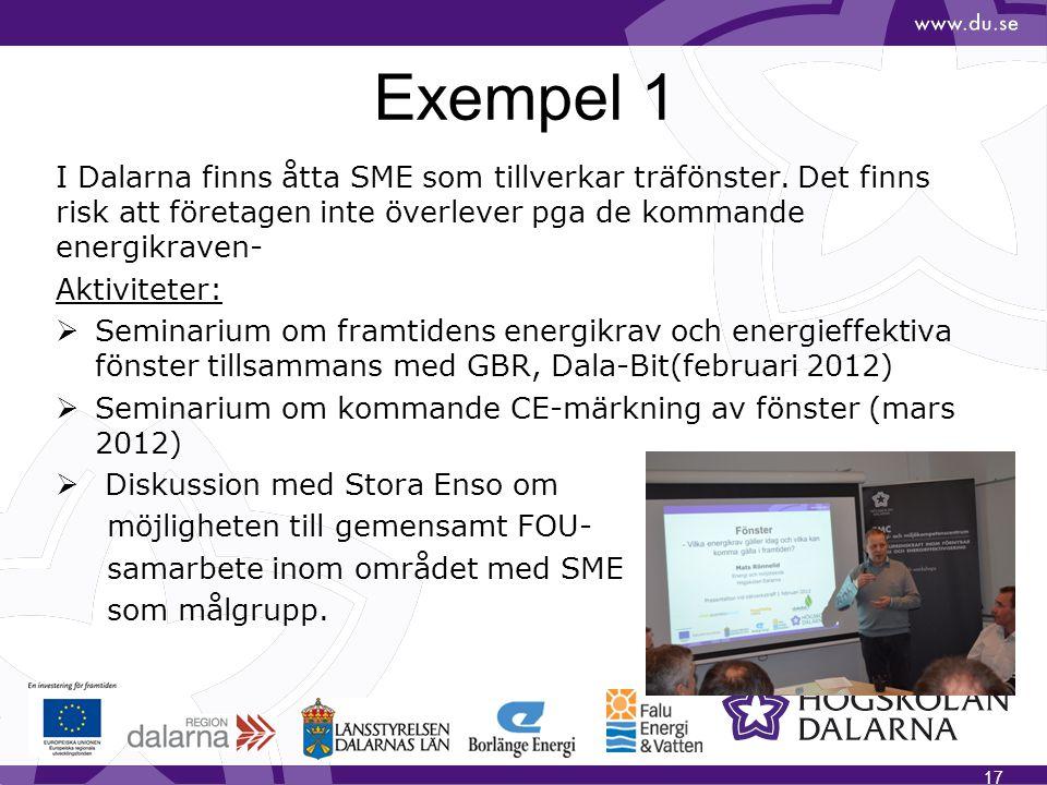 Exempel 1 I Dalarna finns åtta SME som tillverkar träfönster. Det finns risk att företagen inte överlever pga de kommande energikraven- Aktiviteter: 