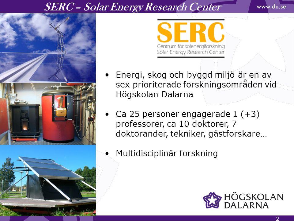 3 SERC –Research Areas Solvärme och bioenergisystem Solvärmesystem och värmelagring Konvertering av elvärmda hus Utveckling av sol- och pelletvärmesystem Laboratorie- och fältmätningar Modellering och simulering Minimering av primärenergianvändning och emissioner Avancerade värmelager Kemiska värmepumpar Solvärme och solkyla Årslagring (långtidslagring) av värme