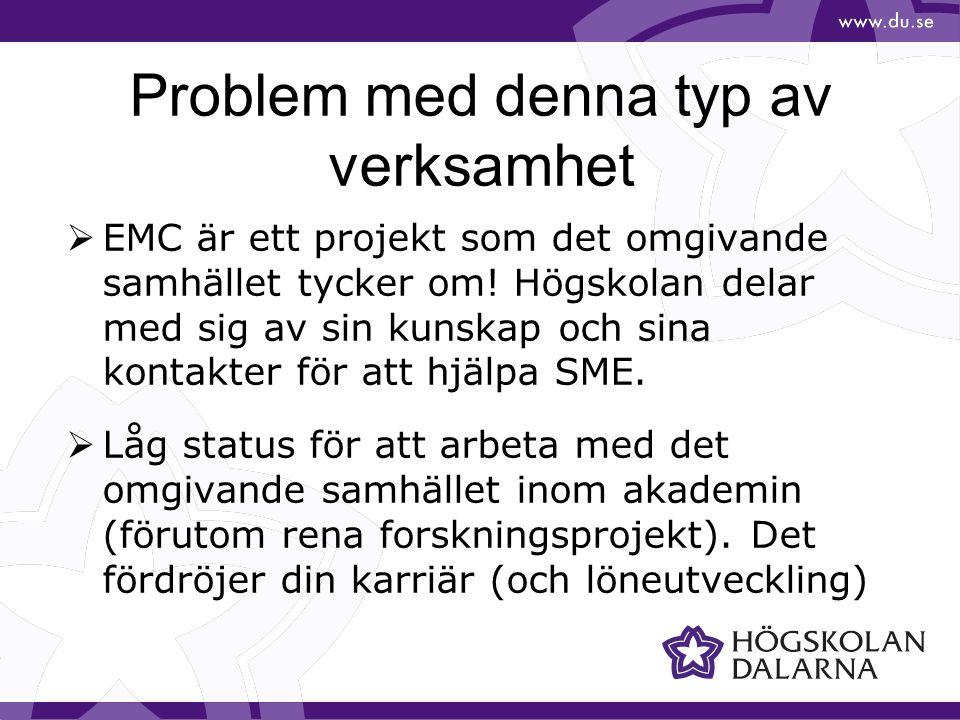 Problem med denna typ av verksamhet  EMC är ett projekt som det omgivande samhället tycker om! Högskolan delar med sig av sin kunskap och sina kontak