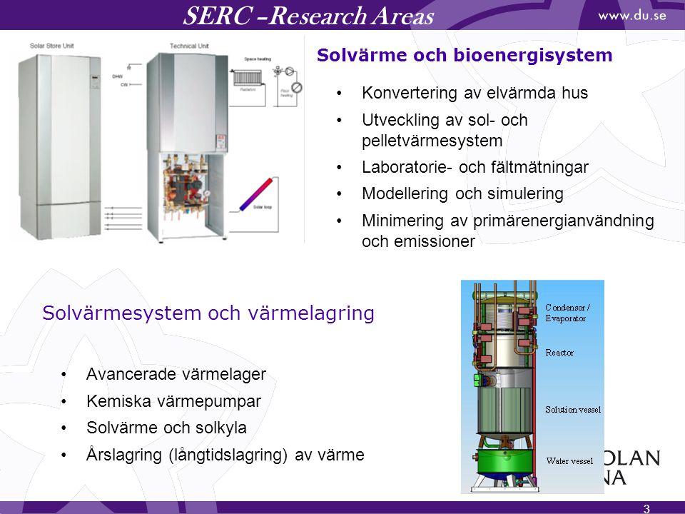 3 SERC –Research Areas Solvärme och bioenergisystem Solvärmesystem och värmelagring Konvertering av elvärmda hus Utveckling av sol- och pelletvärmesys