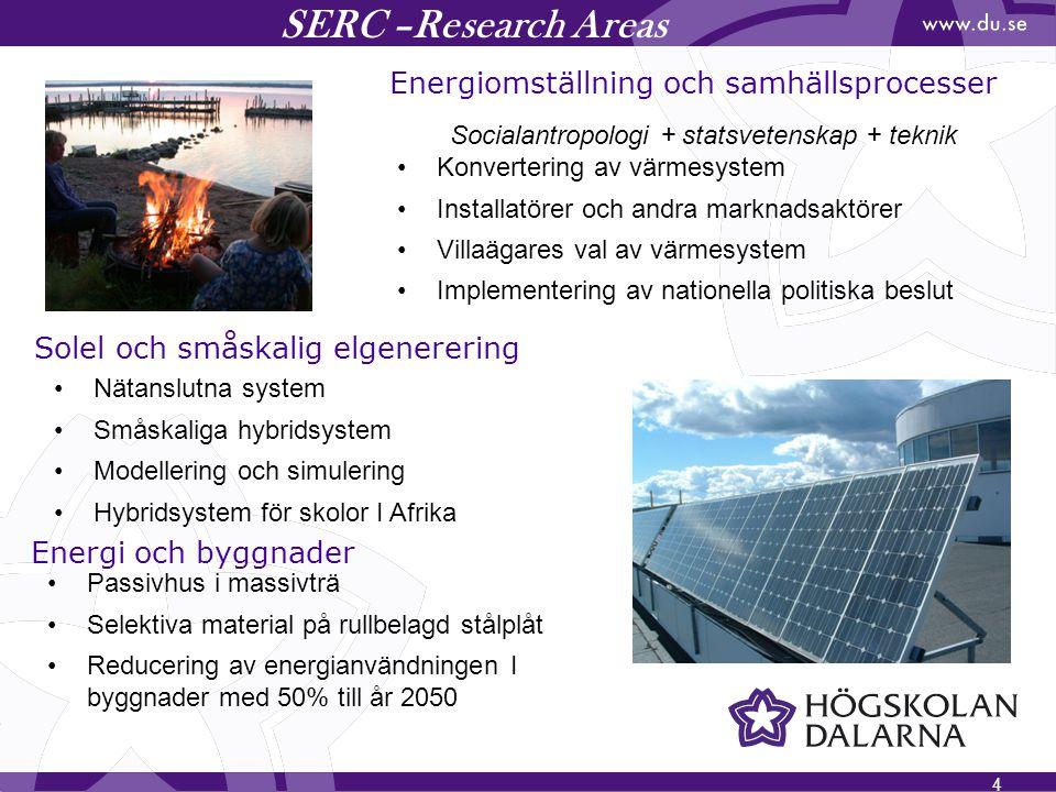 4 SERC –Research Areas Energiomställning och samhällsprocesser Solel och småskalig elgenerering Socialantropologi + statsvetenskap + teknik Konverteri
