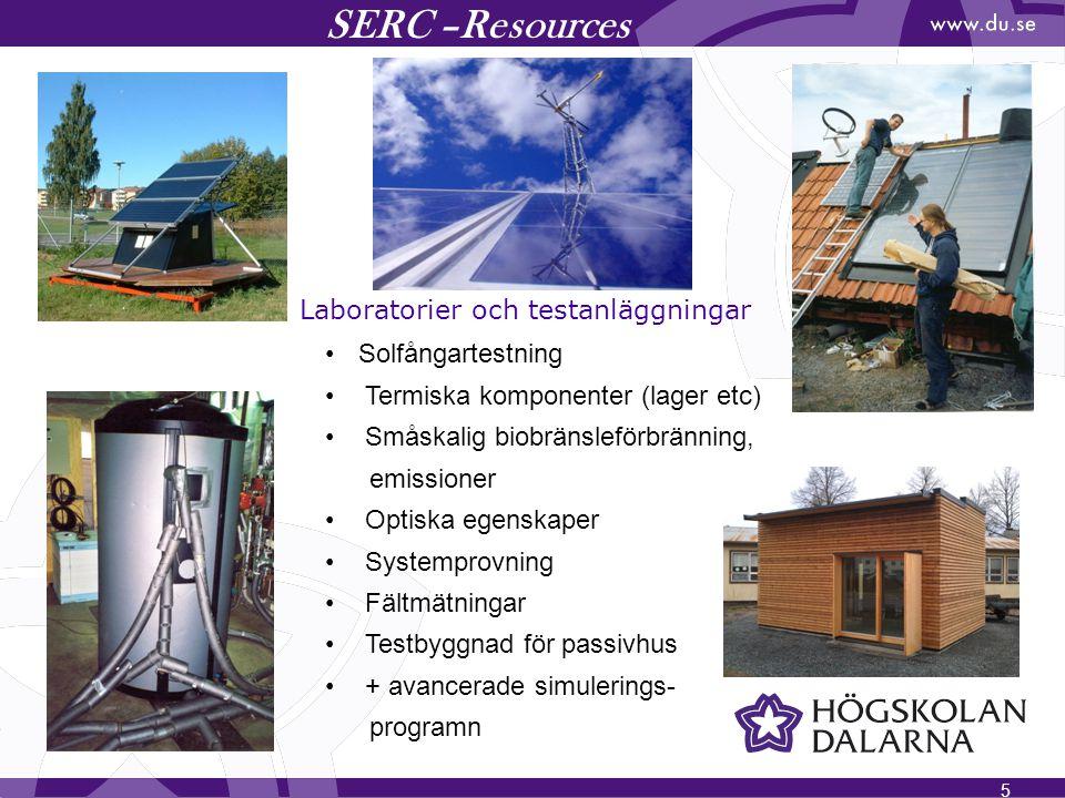 5 SERC –Resources Laboratorier och testanläggningar Solfångartestning Termiska komponenter (lager etc) Småskalig biobränsleförbränning, emissioner Opt