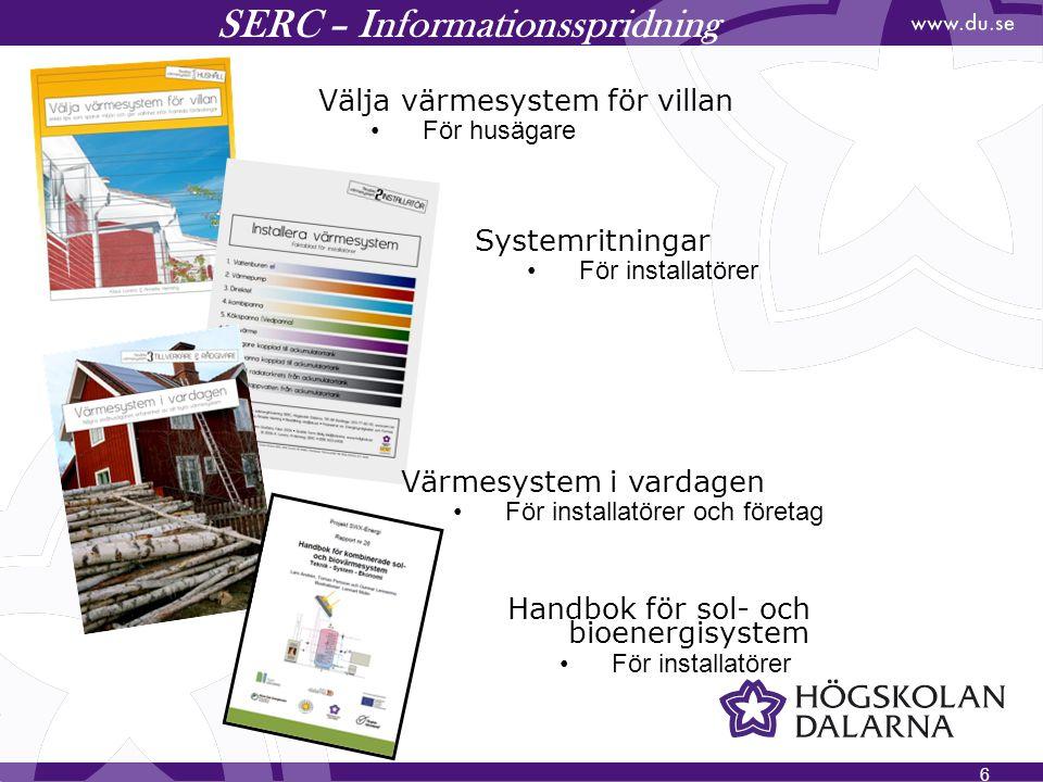 6 SERC – Informationsspridning Välja värmesystem för villan För husägare Handbok för sol- och bioenergisystem För installatörer Systemritningar För in