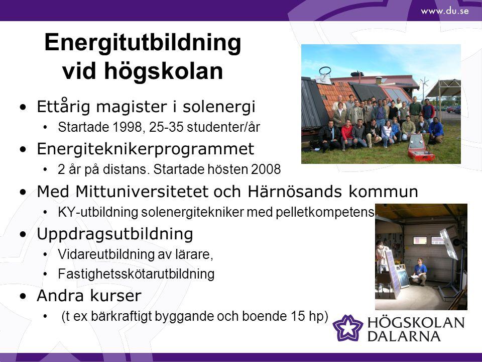 Magisterutbildning i solenergiteknik Ettårig, utbildning Internationell rekrytering (1-2 svenskar/år) Solvärme, solel, systemteknik, solenergi och byggnader, examensarbete Internationellt erkänd.