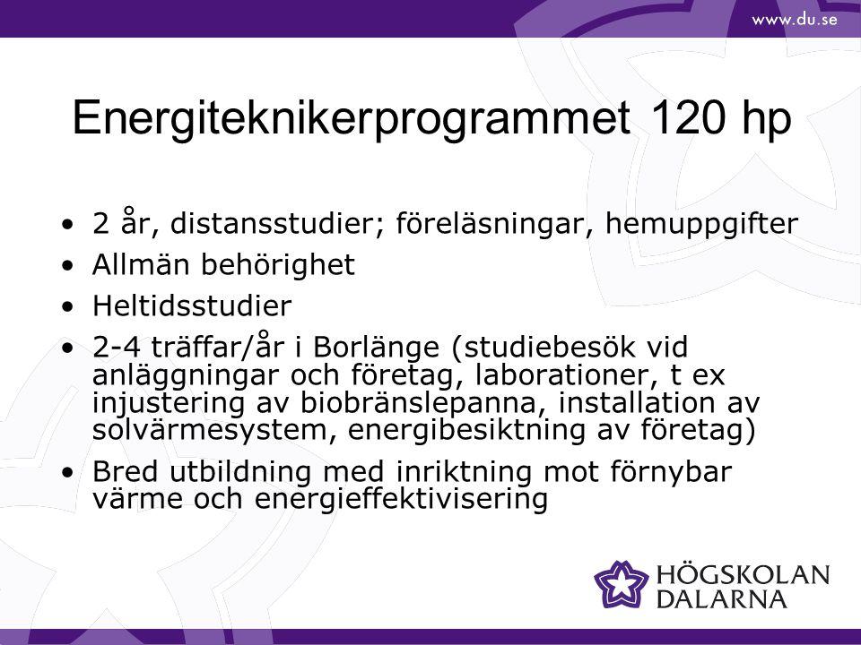 Energiteknikerprogrammet 120 hp 2 år, distansstudier; föreläsningar, hemuppgifter Allmän behörighet Heltidsstudier 2-4 träffar/år i Borlänge (studiebe