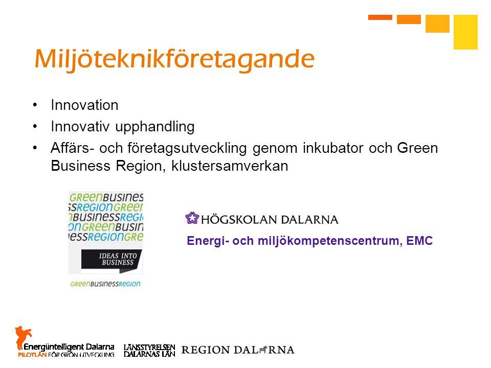 Miljöteknikföretagande Innovation Innovativ upphandling Affärs- och företagsutveckling genom inkubator och Green Business Region, klustersamverkan Ene