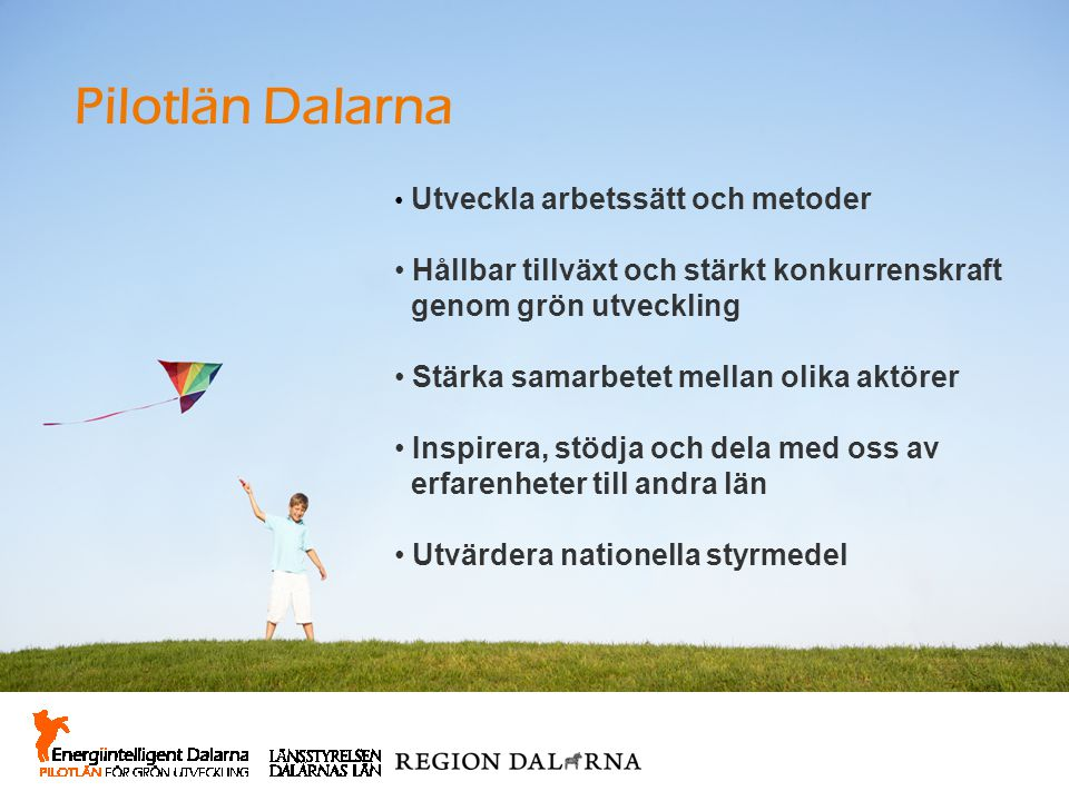 Pilotlän Dalarna Utveckla arbetssätt och metoder Hållbar tillväxt och stärkt konkurrenskraft genom grön utveckling Stärka samarbetet mellan olika aktö