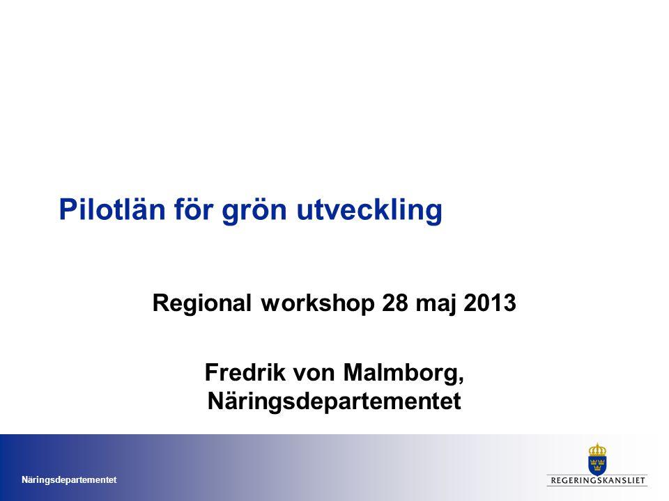 Näringsdepartementet Pilotlän för grön utveckling Regional workshop 28 maj 2013 Fredrik von Malmborg, Näringsdepartementet