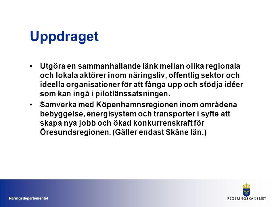Näringsdepartementet Stöd till pilotlänen Sammanlagt 18 mkr avsätts för länsstyrelsernas arbete.