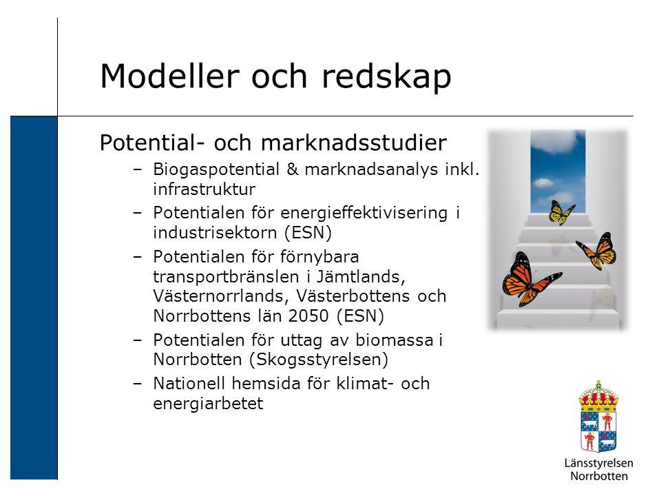 Modeller och redskap Potential- och marknadsstudier –Biogaspotential & marknadsanalys inkl.