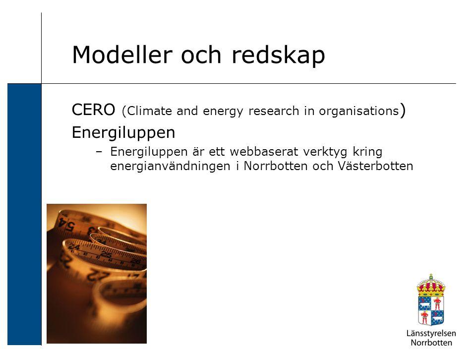 CERO (Climate and energy research in organisations ) Energiluppen –Energiluppen är ett webbaserat verktyg kring energianvändningen i Norrbotten och Västerbotten Modeller och redskap
