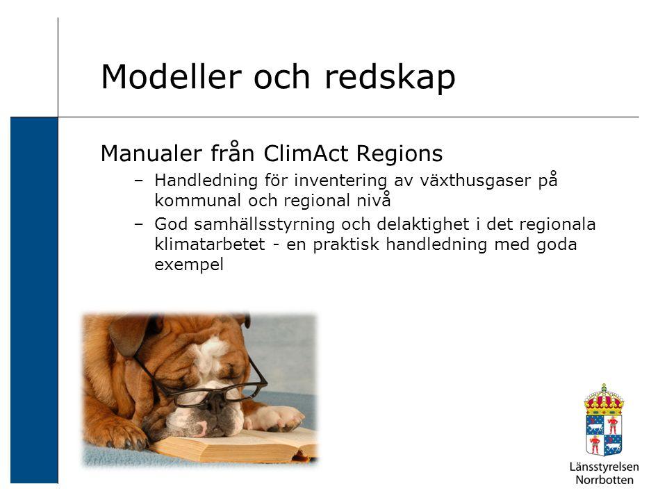 Manualer från ClimAct Regions –Handledning för inventering av växthusgaser på kommunal och regional nivå –God samhällsstyrning och delaktighet i det regionala klimatarbetet - en praktisk handledning med goda exempel Modeller och redskap